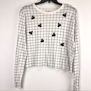 Carbon Copy Long Sleeve Grid Cherry Tee Size XL